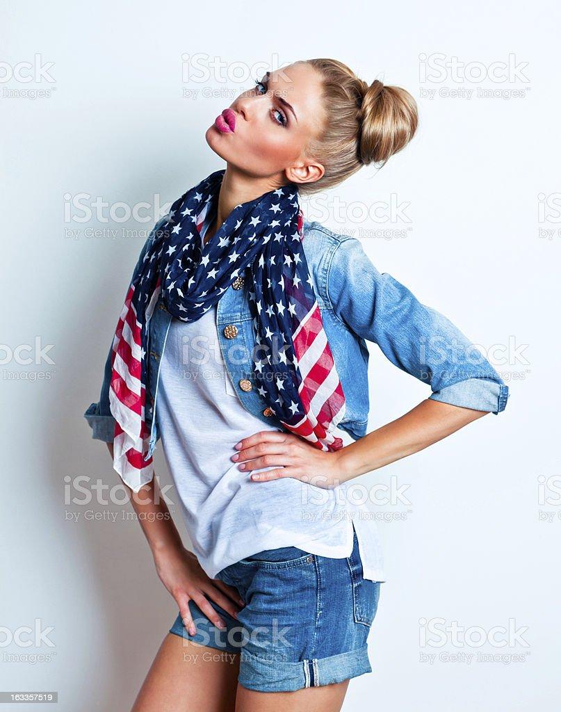 Confident woman, Studio Portrait royalty-free stock photo