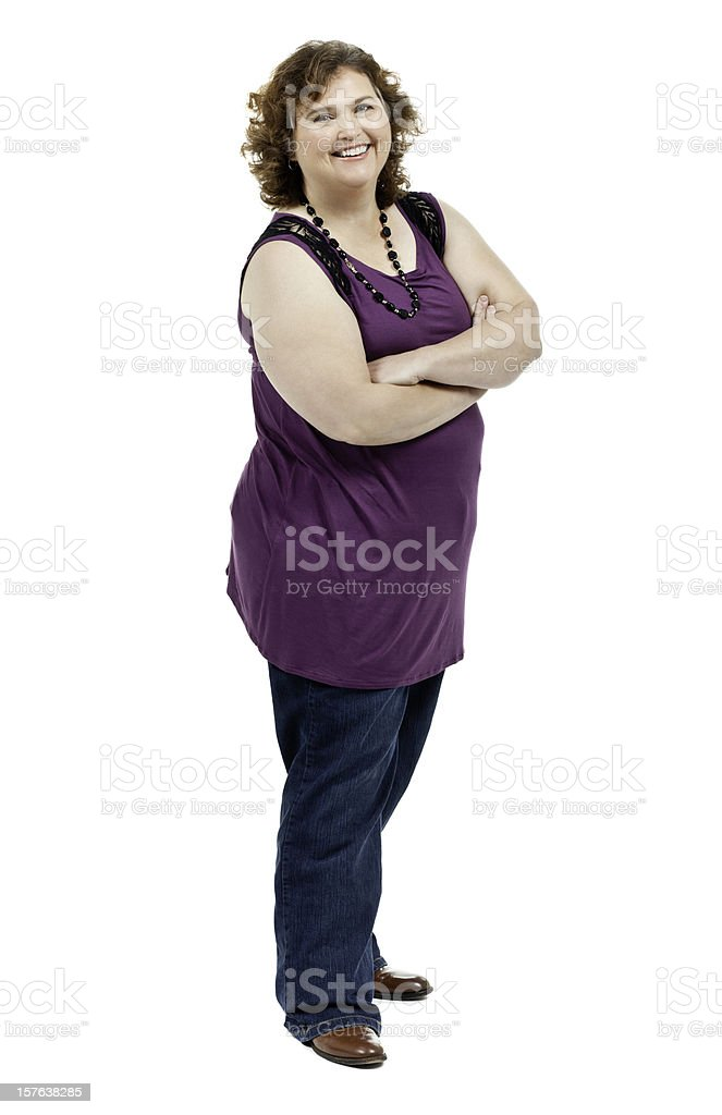 Confident Woman with Arms Crossed - Isolated royalty-free stock photo