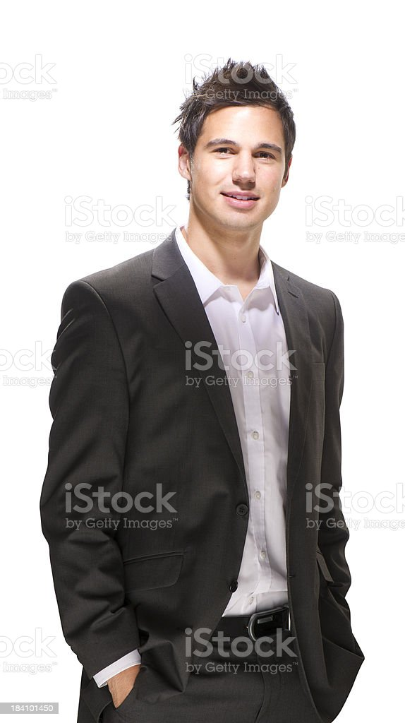 confident young businessman smiling to camera royalty-free stock photo