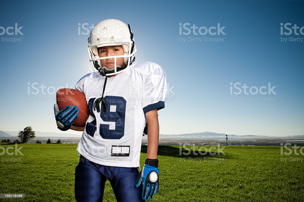 Confident Young Football Player Portrait stock photo