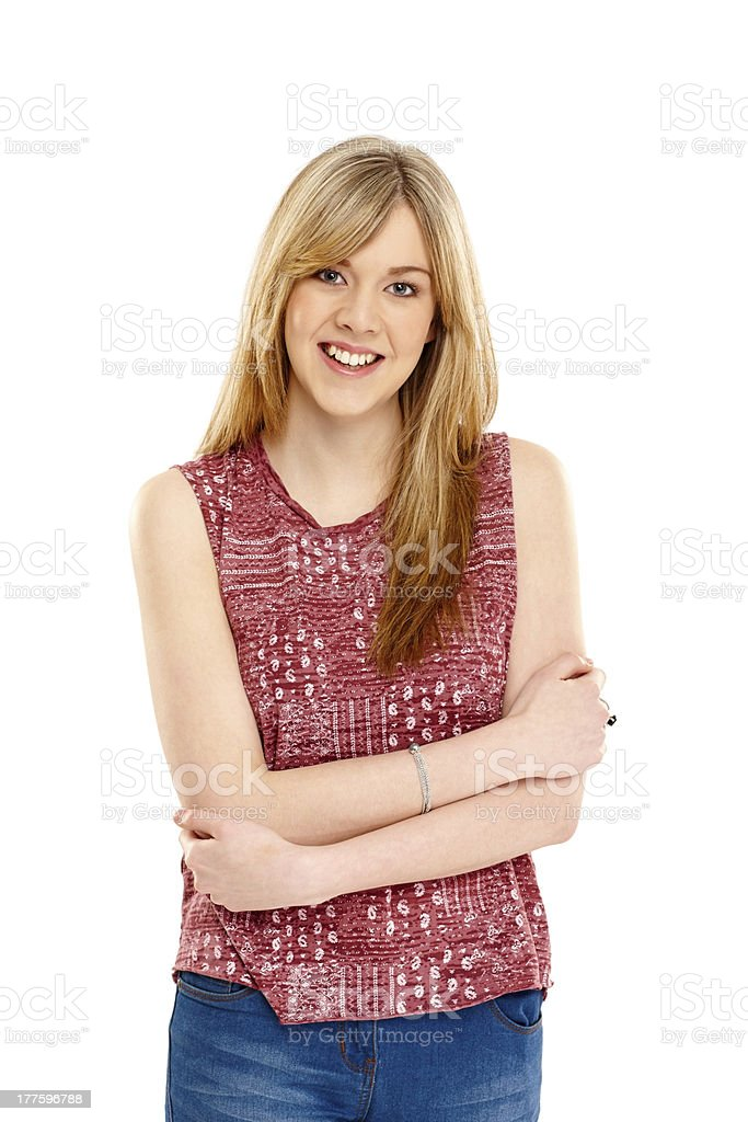 Confident young lady standing on white royalty-free stock photo