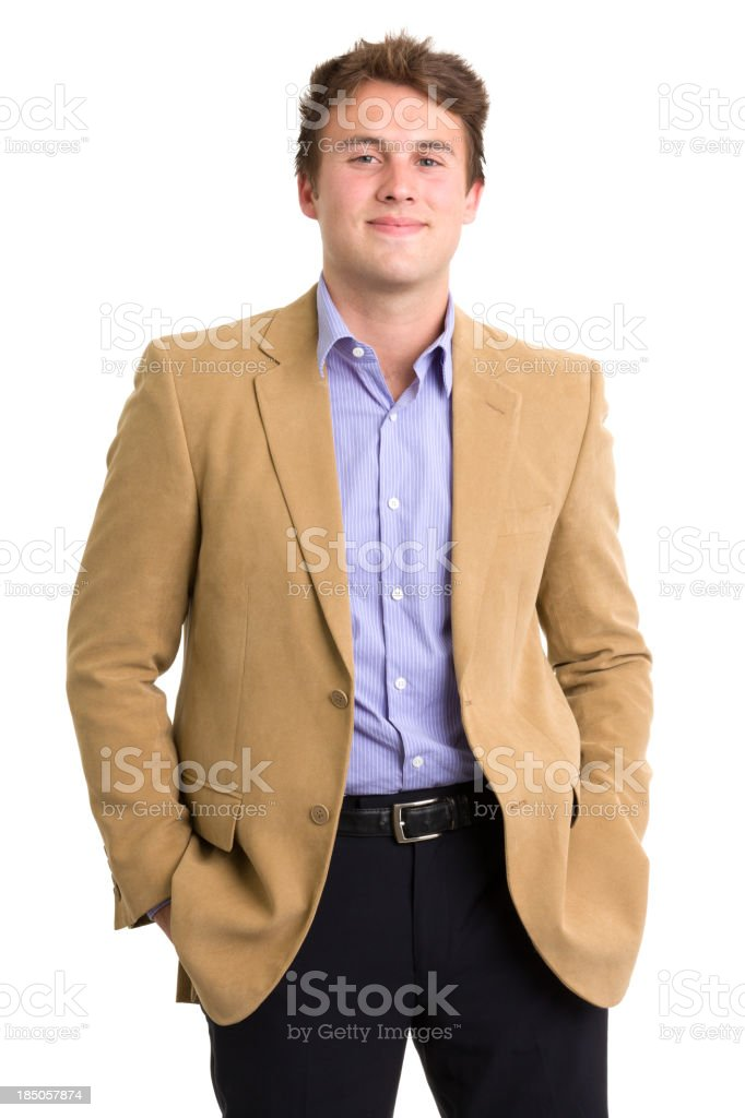 Confident young man in blazer and suit stock photo