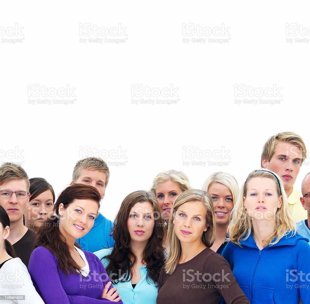 Confident young men and women standing together royalty-free stock photo