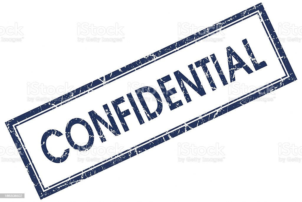 confidential blue square stamp royalty-free stock photo