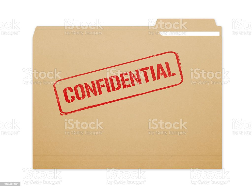 Confidential folder isolated on a white background stock photo