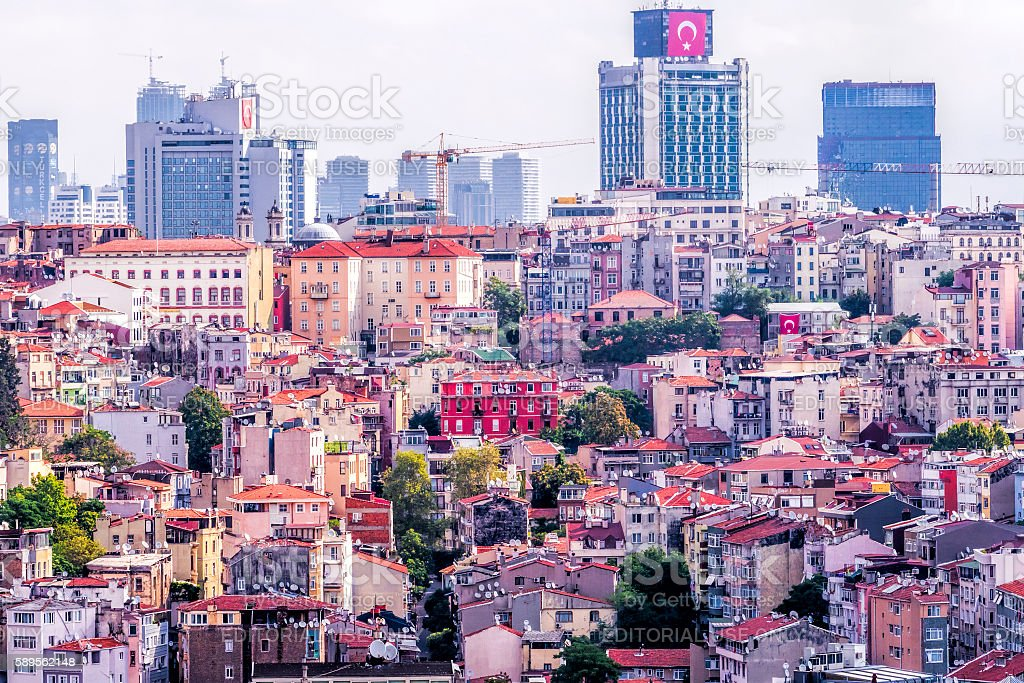 Confilict: Istanbul Panorama with Church stock photo