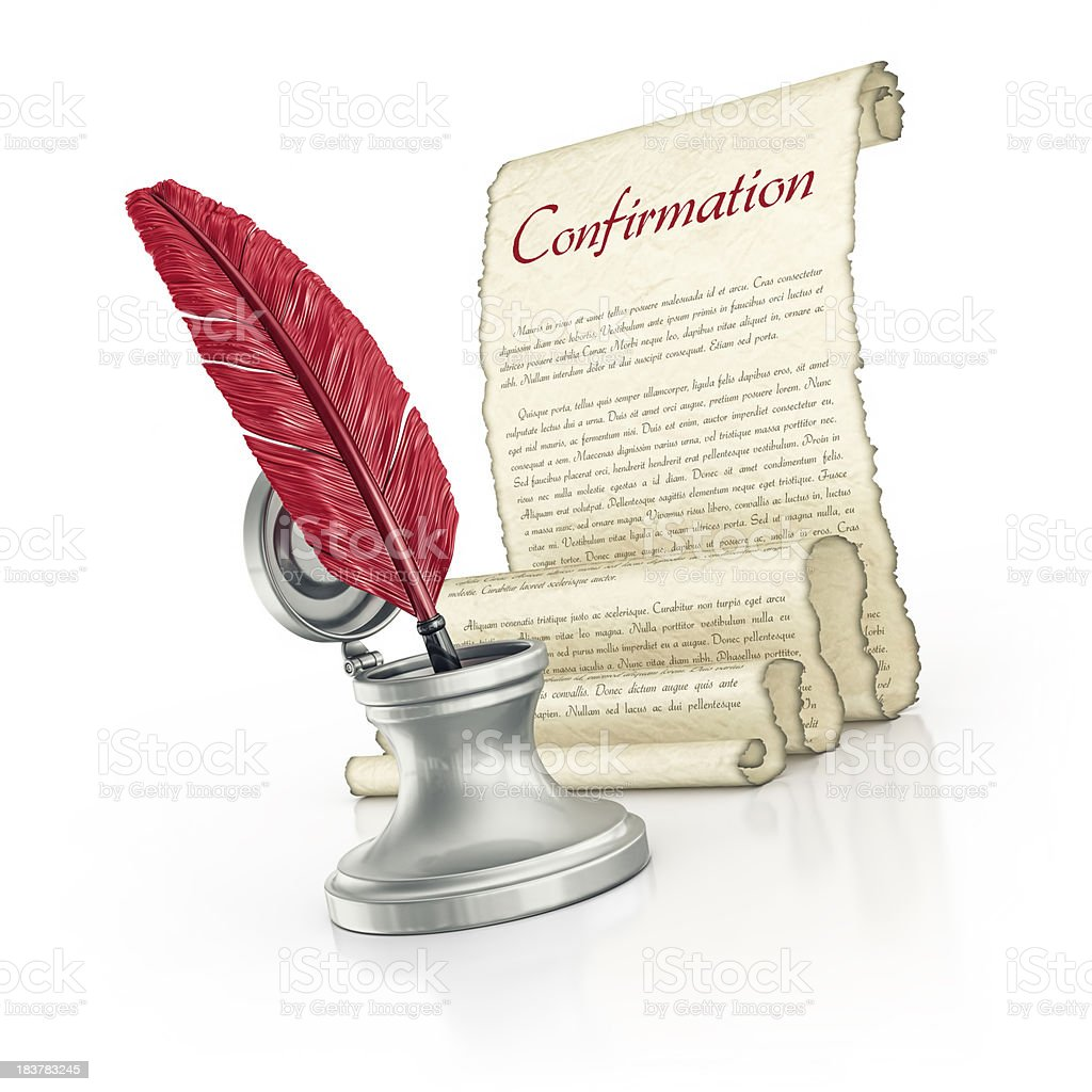 confirmation parchment royalty-free stock photo