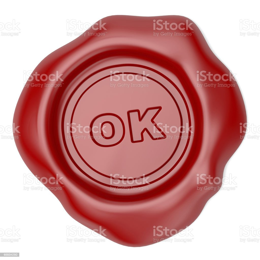 Confirmed. Wax seal with OK text royalty-free stock vector art
