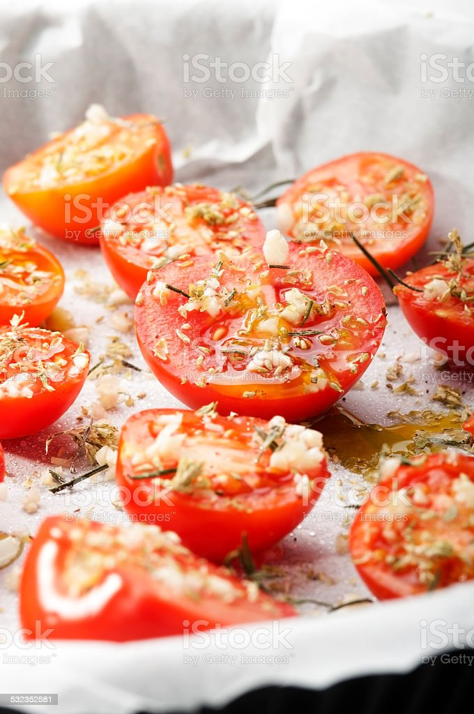 confit tomatoes stock photo