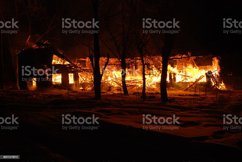 conflagration / Burning/ firefighters /fire, people on fire stock photo