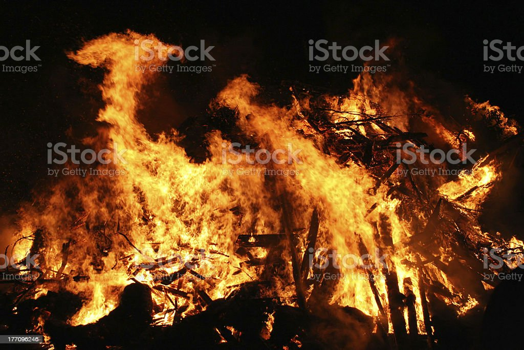 Conflagration in a dark night royalty-free stock photo