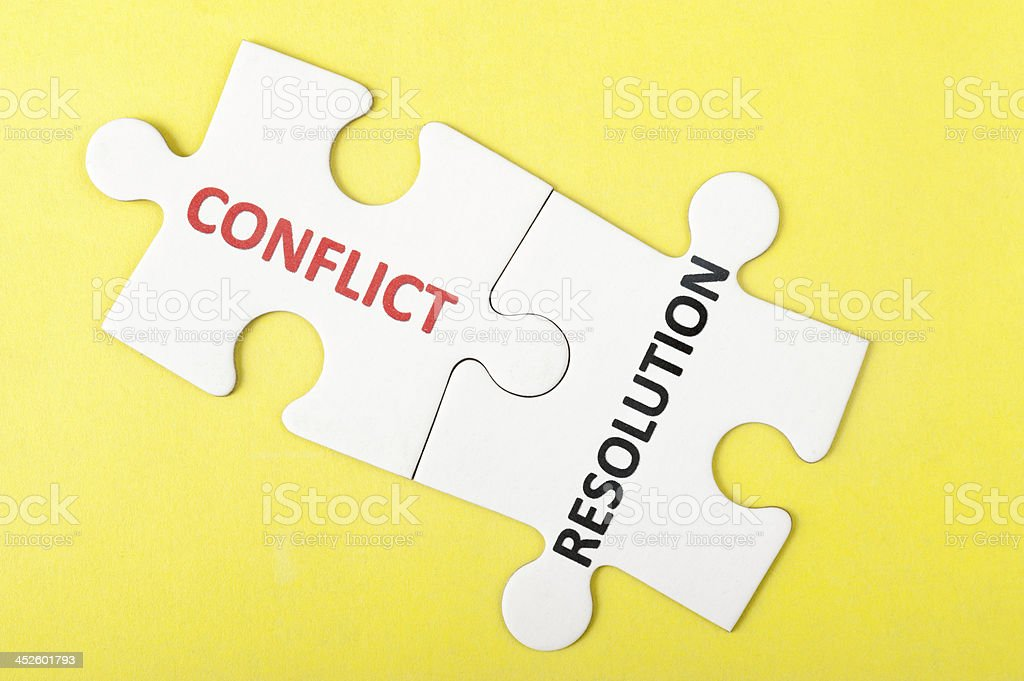 Conflict and resolution words stock photo
