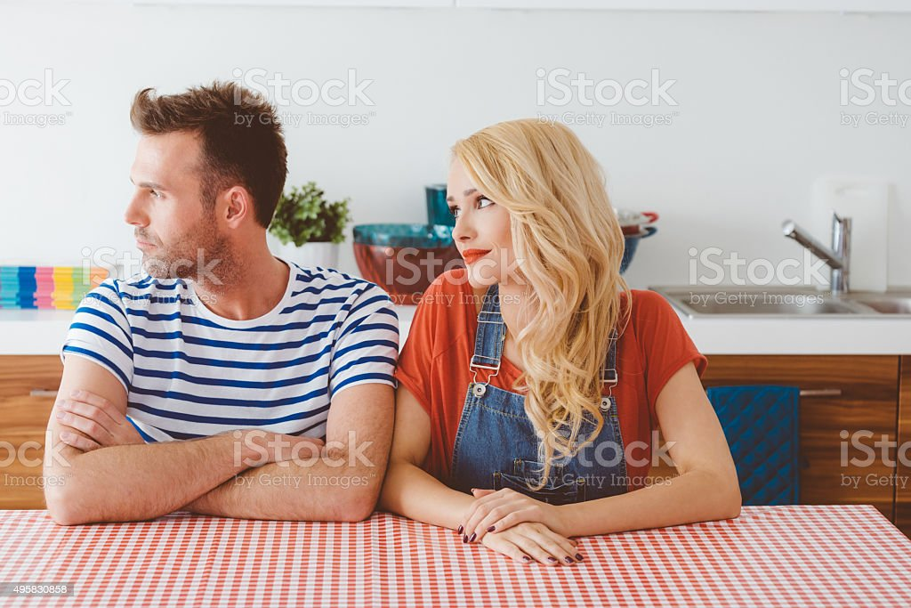 Conflict between man and woman stock photo