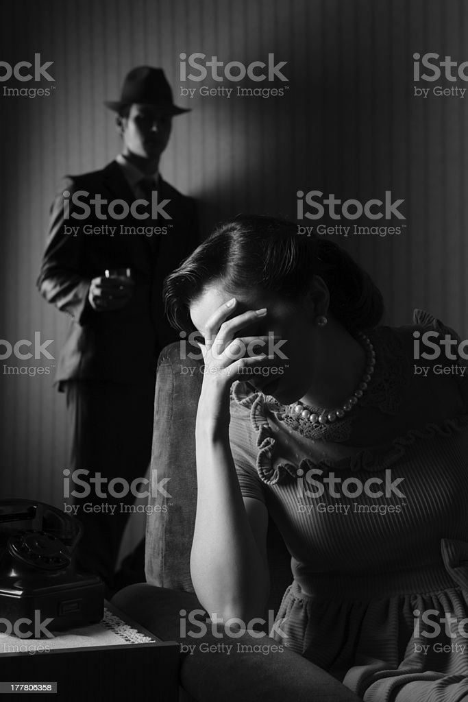 Conflict between the man and woman stock photo