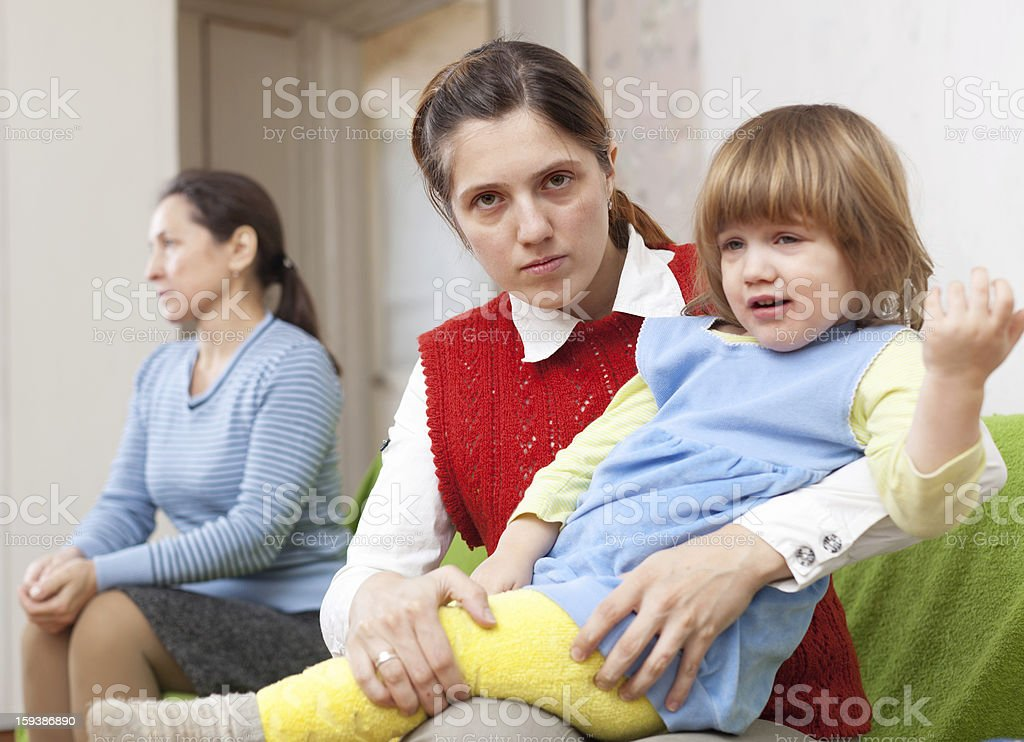 Conflict between the woman and her mother royalty-free stock photo