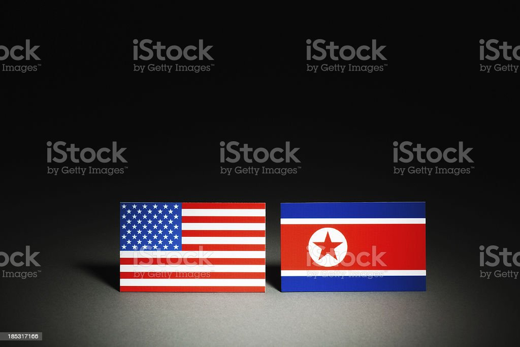 Conflict Between USA and North Korea (DPRK) on Spotlight Hz royalty-free stock photo