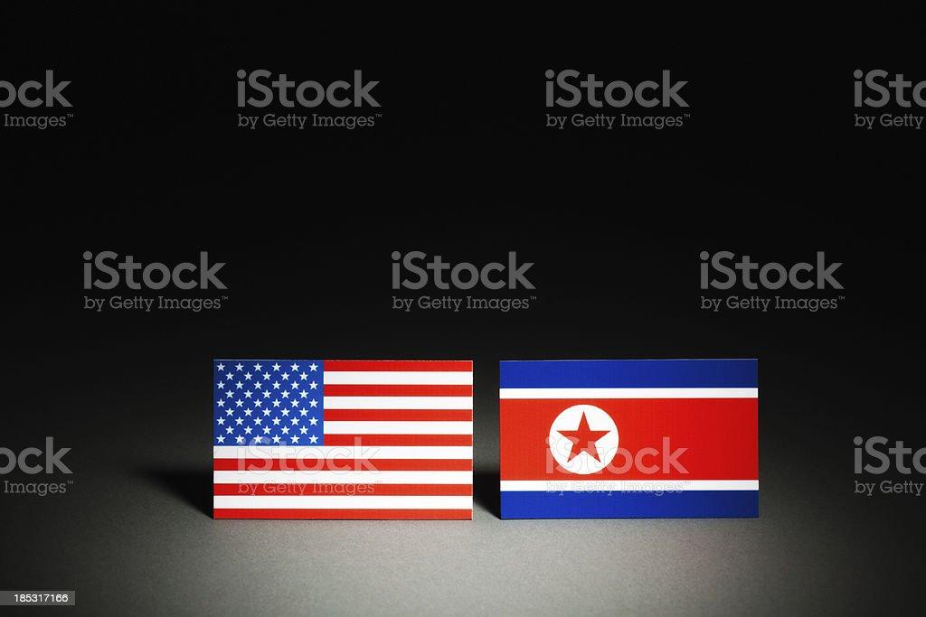 Conflict Between USA and North Korea (DPRK) on Spotlight Hz stock photo