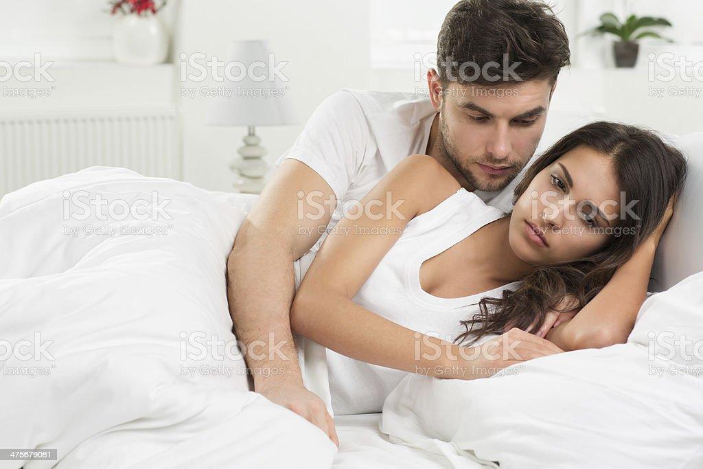 Conflict in bedroom stock photo