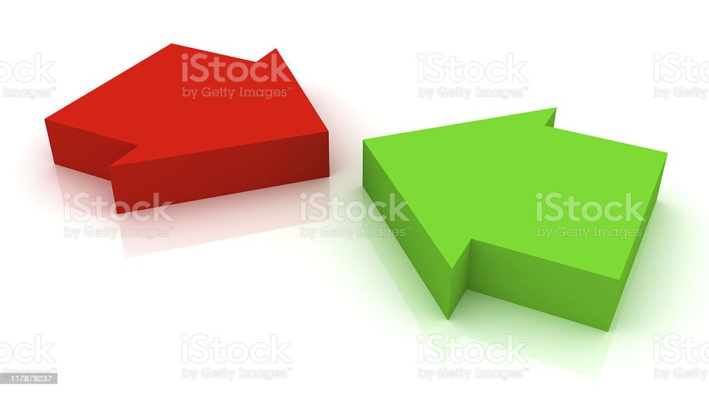 Conflicting arrows royalty-free stock photo