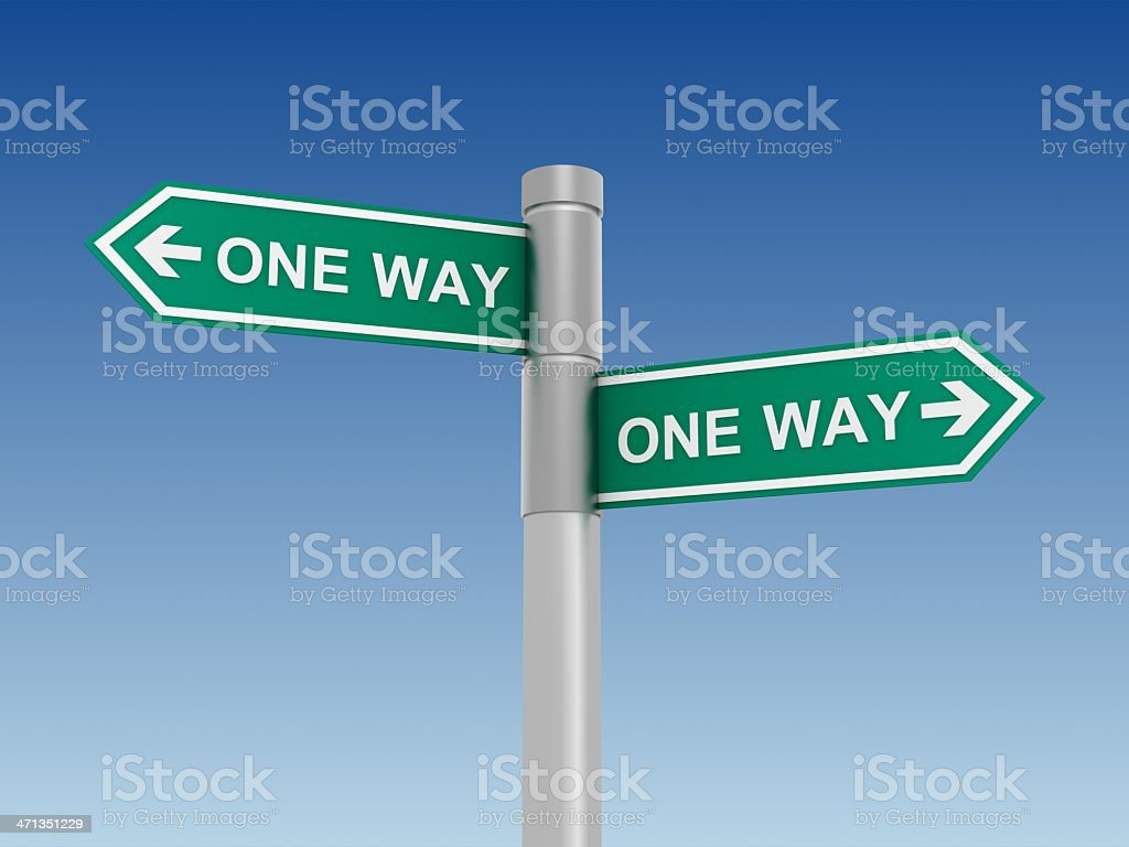 Conflicting One Way Signs royalty-free stock photo