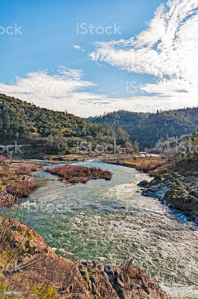 Confluence North and Middle Fork American River stock photo