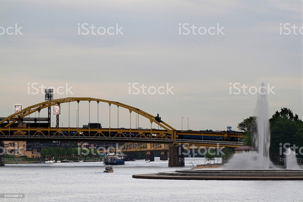 Confluence of Allegheny and Monongahela to Ohio River stock photo