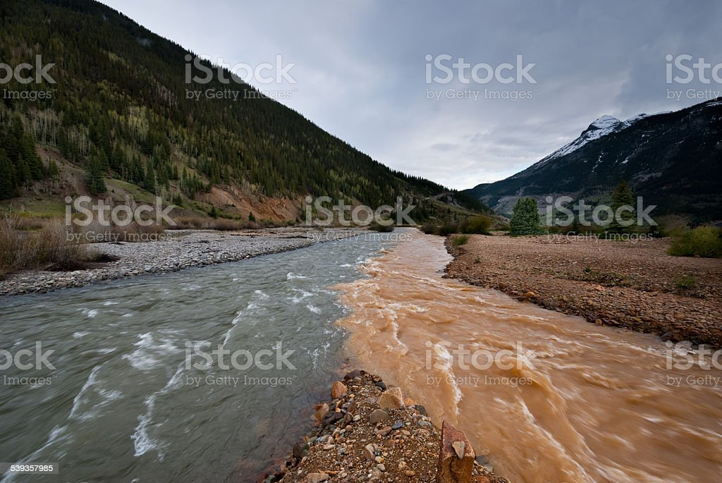 Confluence of Cement Creek and the Animas River stock photo