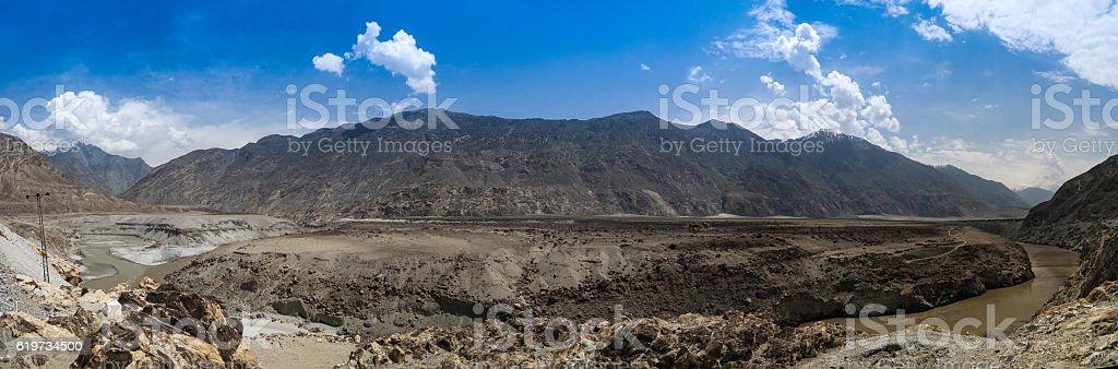 Confluence of Gilgit and Indus rivers, Gilgit-Baltistan Pakistan stock photo