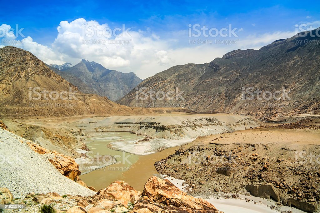 Confluence of Gilgit and Indus rivers, Pakistan stock photo