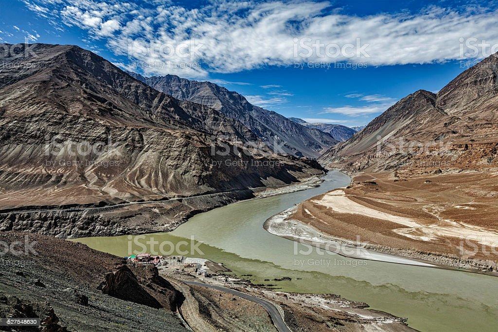 Confluence of Indus and Zanskar Rivers, Ladakh stock photo