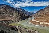 Confluence of Indus and Zanskar Rivers, Ladakh