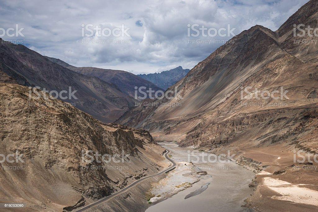 Confluence of Indus and Zanskar Rivers stock photo
