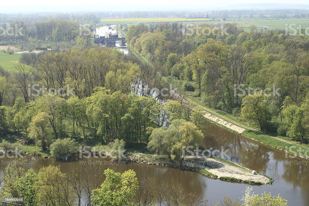 Confluence Of Rivers Vltava And Labe nearby Melnik, Czech Republic royalty-free stock photo