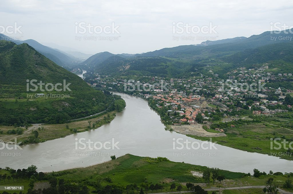 Confluence of two rivers stock photo