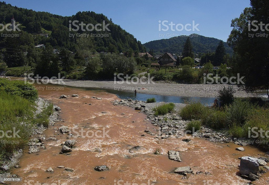 Confluence of two rivers royalty-free stock photo