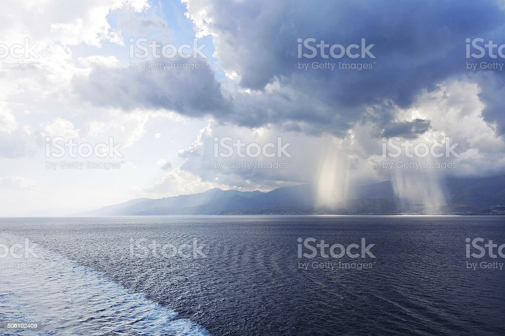 confluence of waters of Ionian and Tyrrhenian Seas royalty-free stock photo