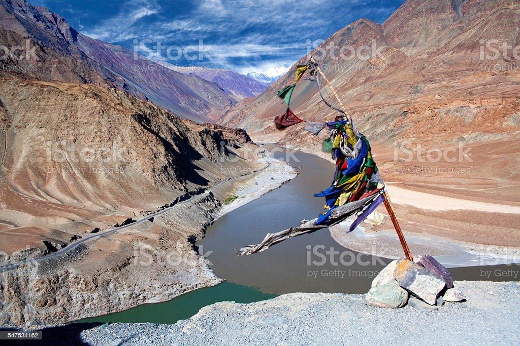 Confluence of Zanskar and Indus rivers in Ladakh, India stock photo