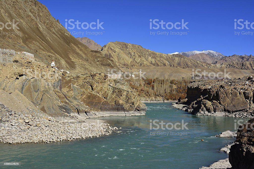 Confluence of Zanskar and Indus rivers - Leh, Ladakh, India royalty-free stock photo