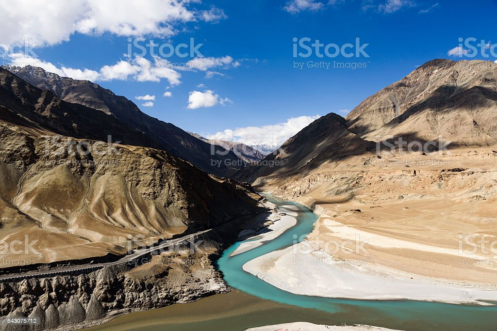 Confluence of Zanskar and Indus rivers - Leh, Ladakh, India stock photo