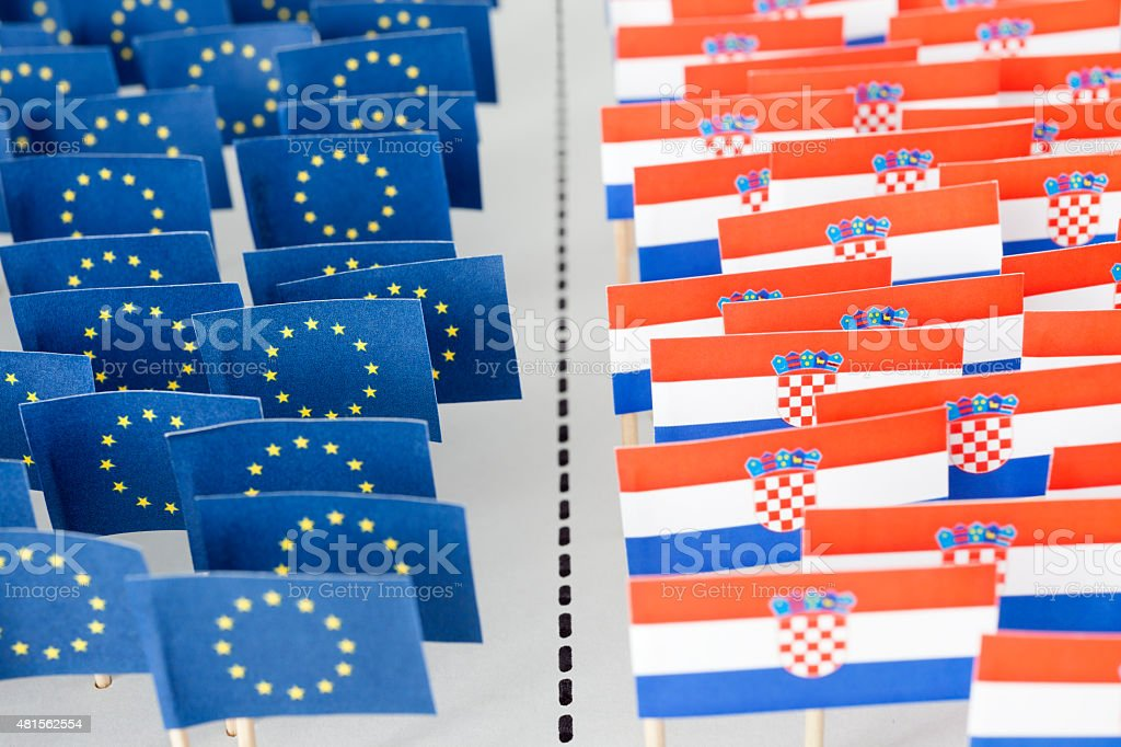 Confronted European Union and Croatia flags stock photo