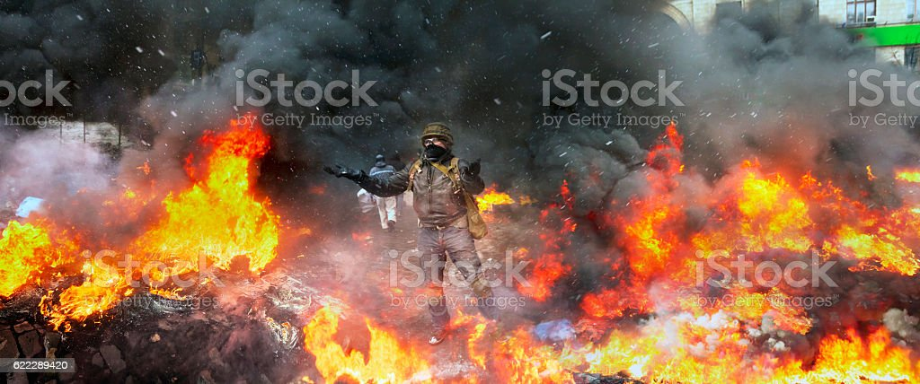 Confronting the government and opposition stock photo