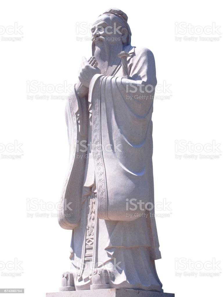 Confucius statue isolated on white background stock photo