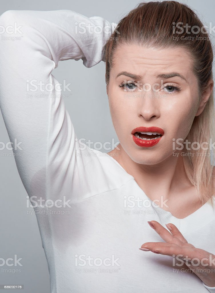 confused about the sweat mark stock photo
