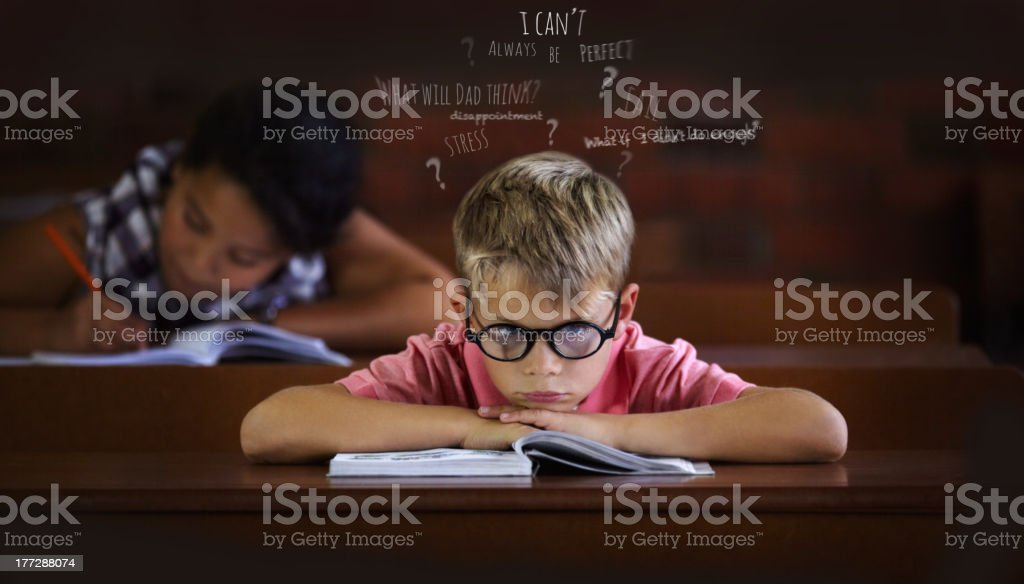 Confused and struggling to learn - Learning disabilities royalty-free stock photo