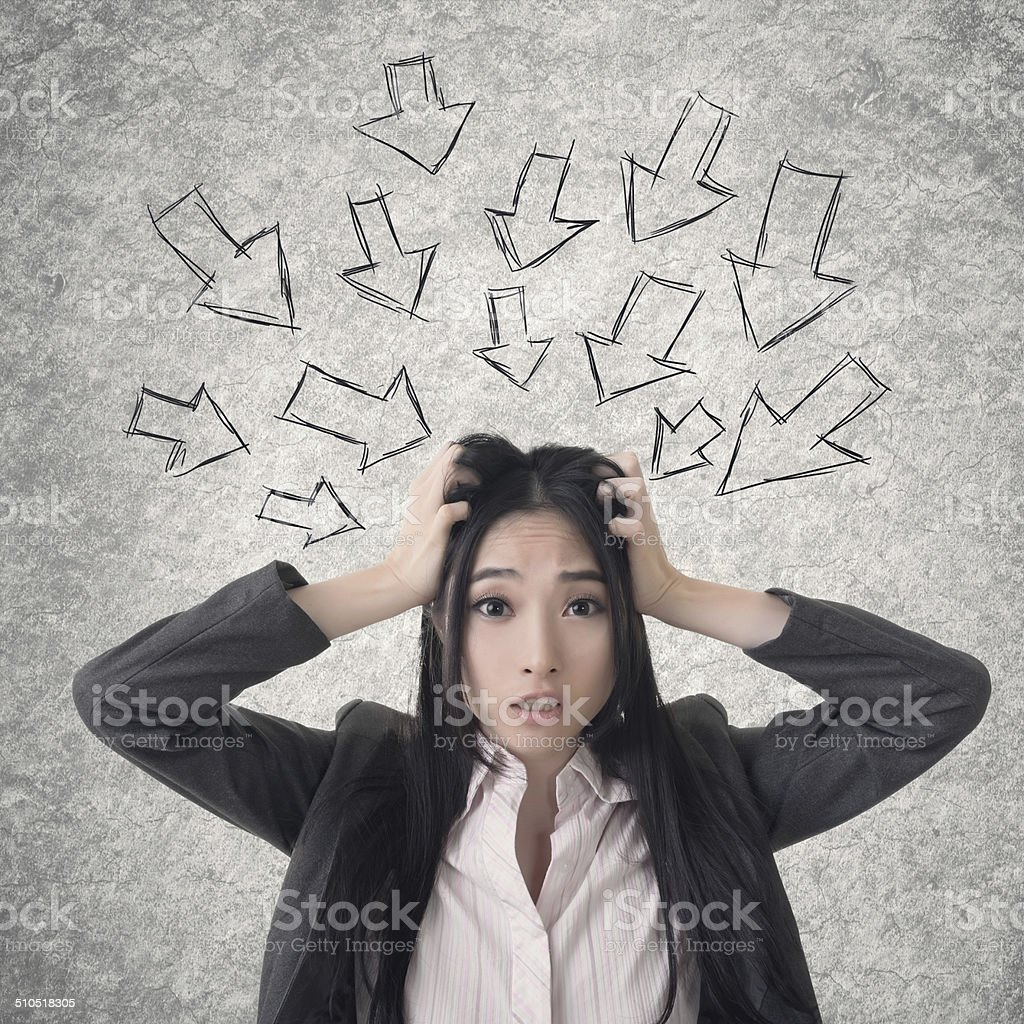 Confused Asian business woman stock photo