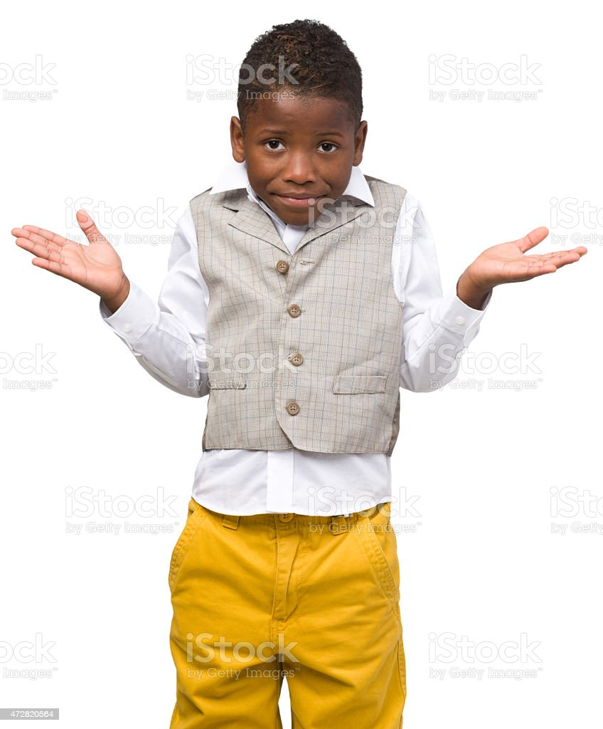 Confused Boy Shrugging stock photo