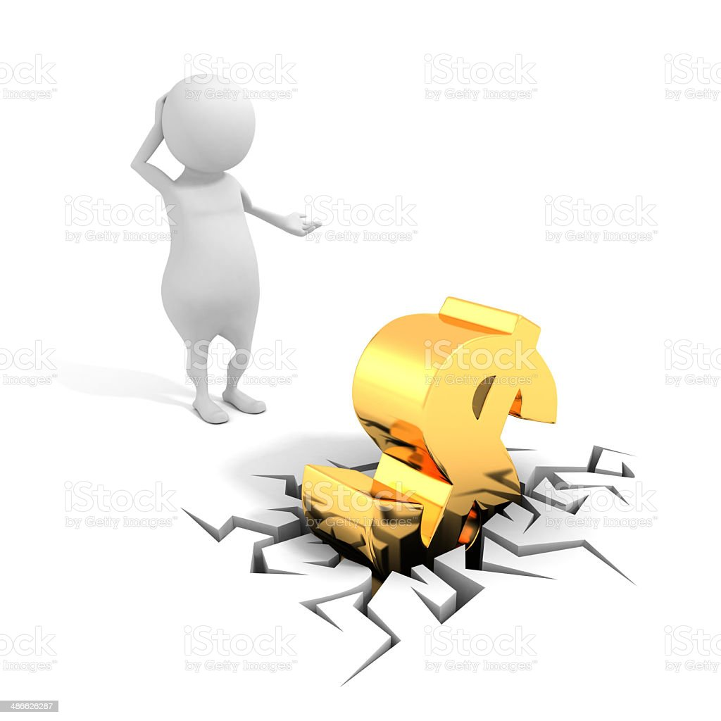 confused business man and golden dollar sign in crack hole stock photo
