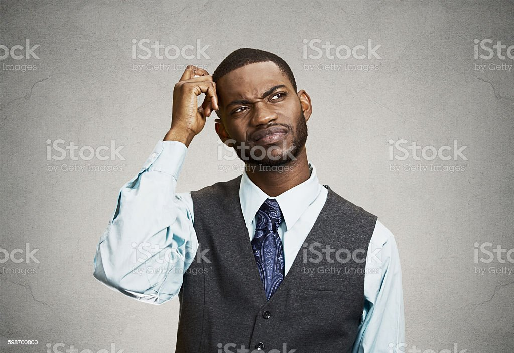 Confused business man, short term memory loss stock photo