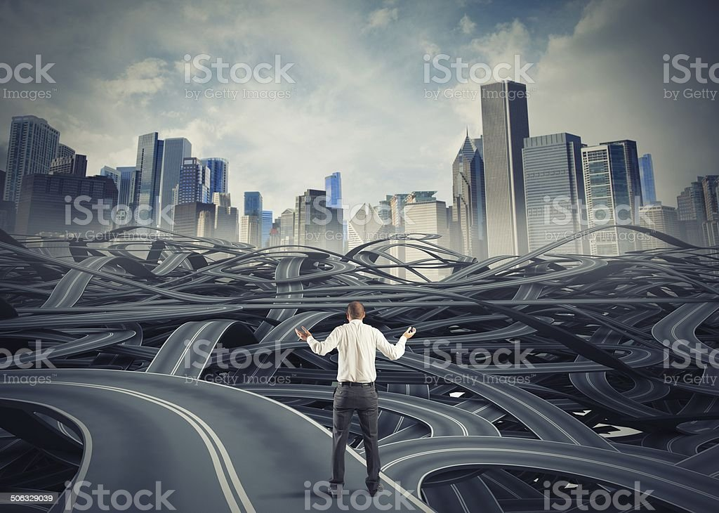 Confused businessman due to bureaucracy stock photo