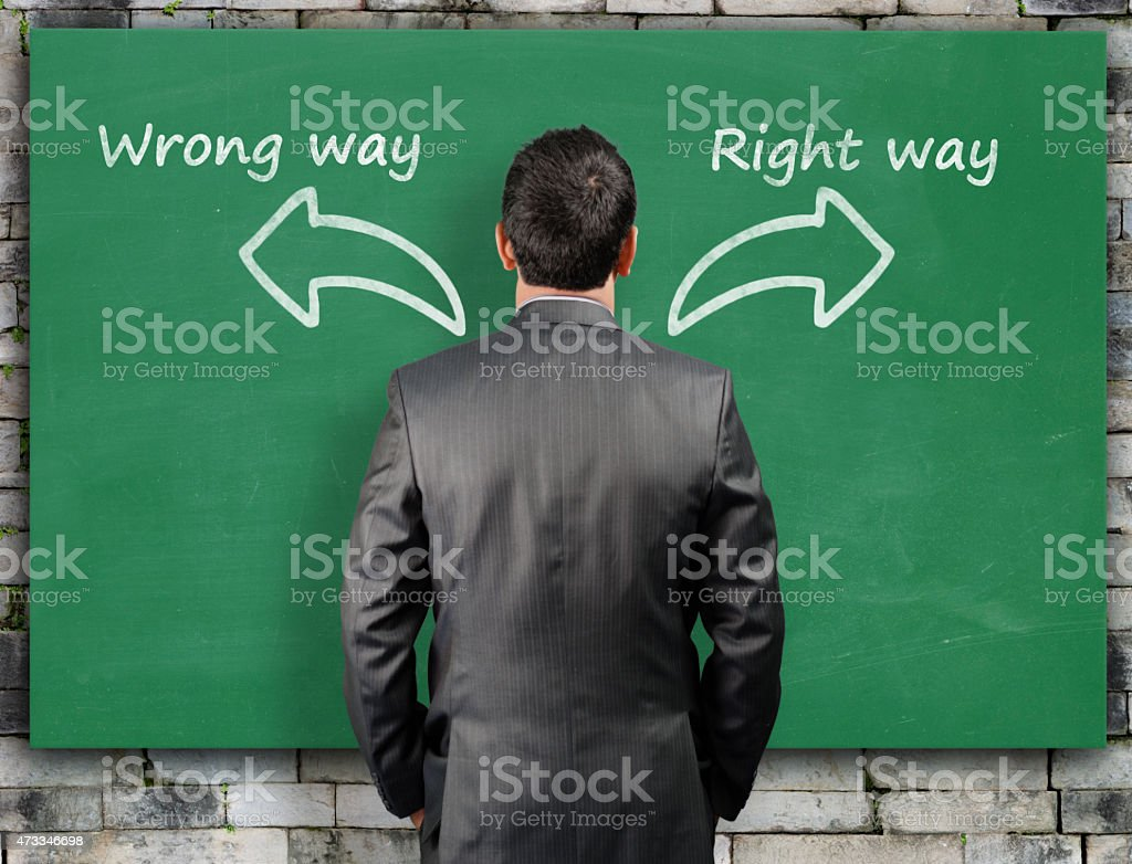 Confused businessman in front of directions stock photo